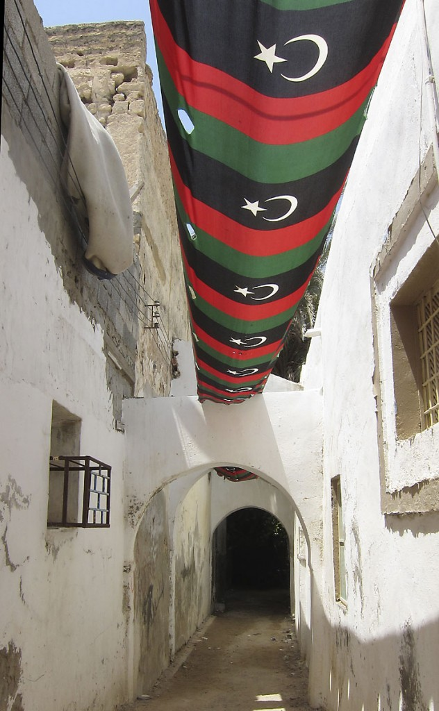 The flag of the new Libya flies in the old medina