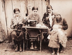 The sewing machine in Potochyshche. Anna is second from right